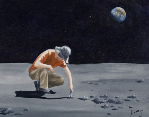 Idiotic Gardener Cheerily Planting Flowers On The Moon by Mark Sheeky