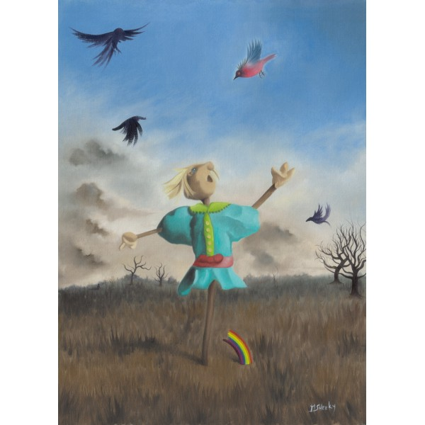Portrait Of Grayson Perry As A Fascinated Scarecrow by Mark Sheeky