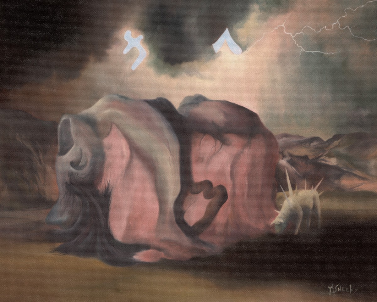 Insomnia Due To Impending Sacrifice by Mark Sheeky, Oil on canvas panel